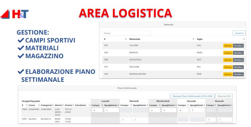 gestione società sportive - Area Logistica